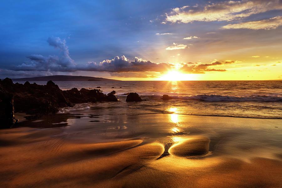 A Golden Sunset With Reflection On Sand by Jenna Szerlag