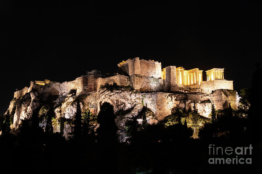 A night view of Acropolis in Athens, Greece by Didier Marti