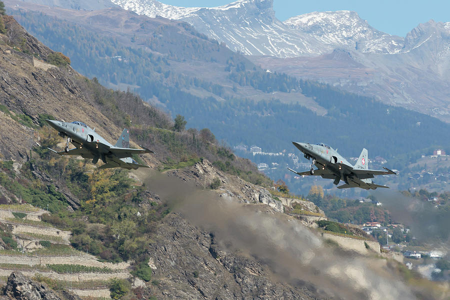 Horizontal Photograph - A Pair Of F-5e Aircraft Of The Swiss by Simone Marcato