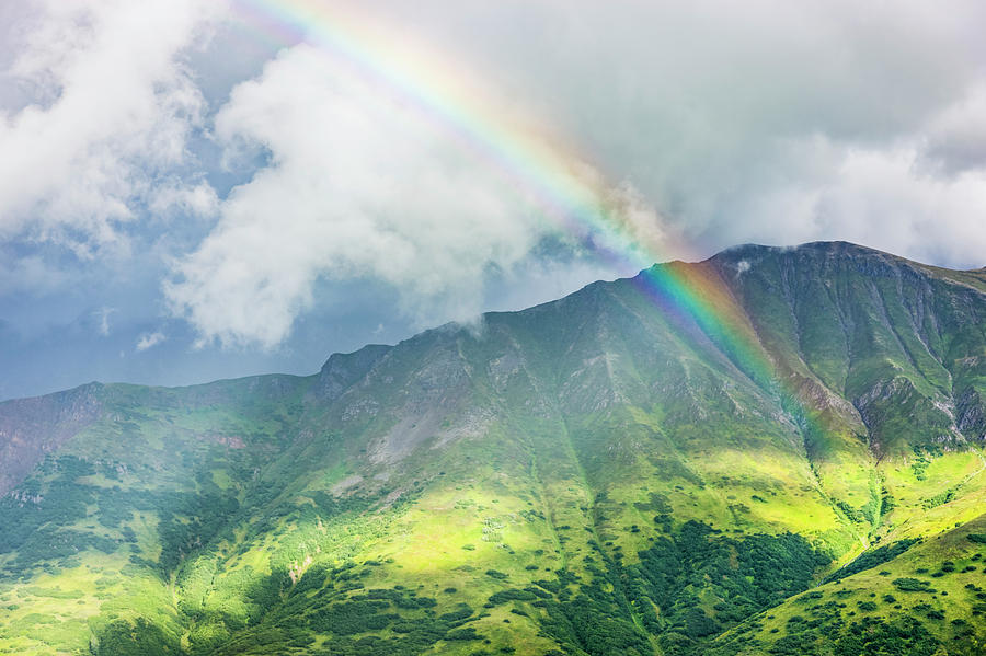 After The Storm Photograph - A Rainbow Shines Through Atmospheric by Kevin G. Smith
