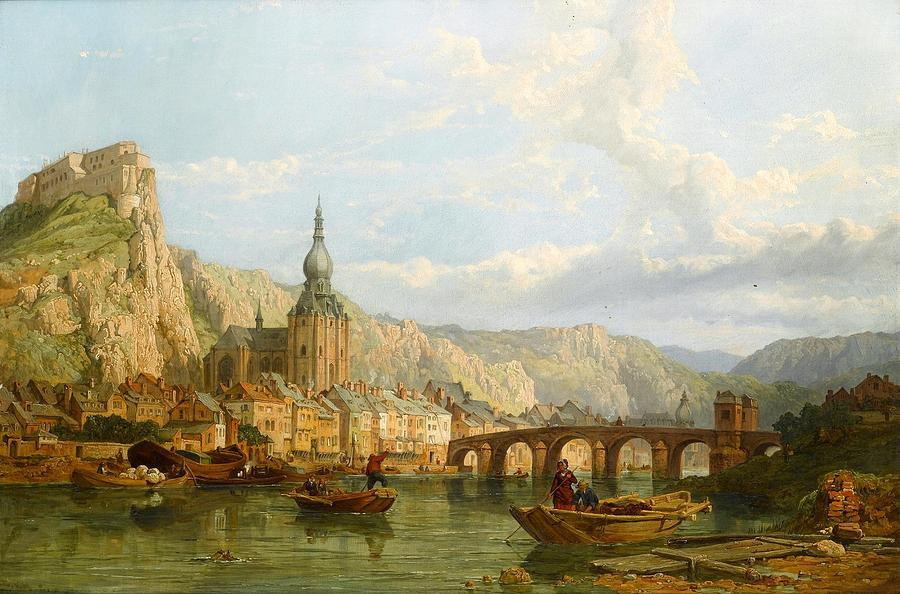 Belgium Painting - A View Of Dinant by George Clarkson Stanfield