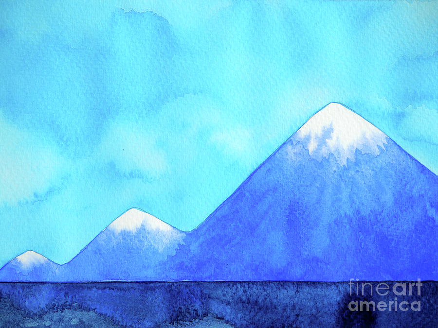 Abstract 3 Step Mountains Peaks Watercolor Painting Landscape Ha Painting By Benjavisa Ruangvaree