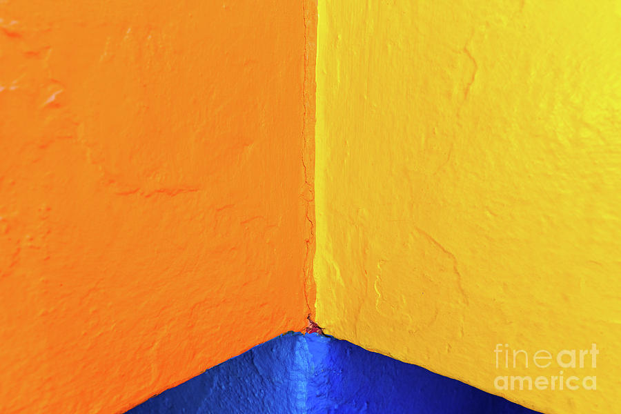 Abstract background of variable geometry and intense yellow and  by Joaquin Corbalan
