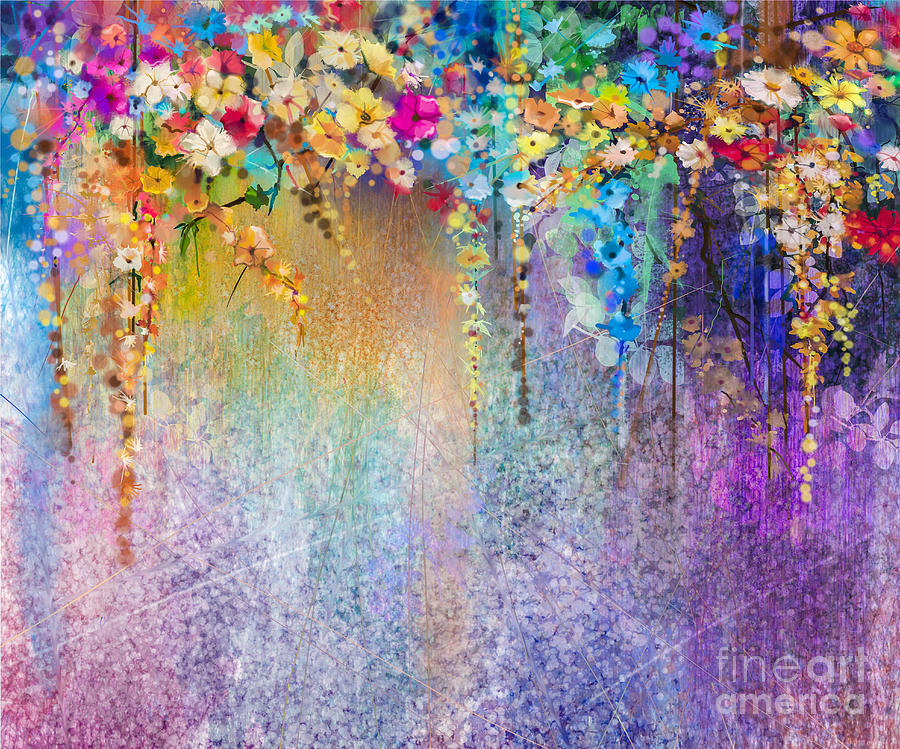 Beauty Digital Art - Abstract Floral Watercolor Painting by Pluie r