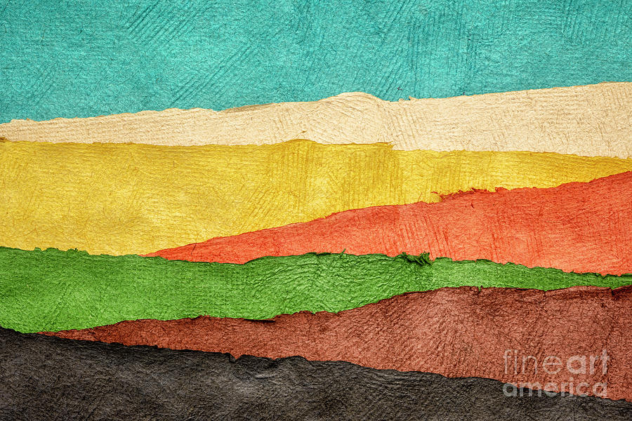 abstract landscape created with handmade paper by Marek Uliasz