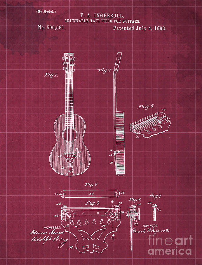 Adjustable Tail Piece For Guitars Patent Year 1893 Drawing