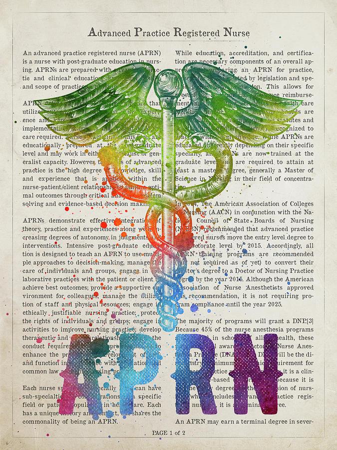 Nurse Digital Art - Advanced Practice Registered Nurse Gift Idea With Caduceus Illus by Aged Pixel