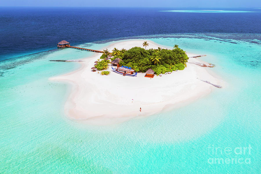 Island Photograph - Aerial Drone View Of A Tropical Island, Maldives by Matteo Colombo