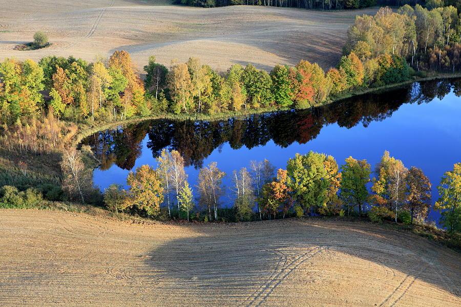 Aerial Photo Of A Lake. Autumn Photograph by Dariuszpa