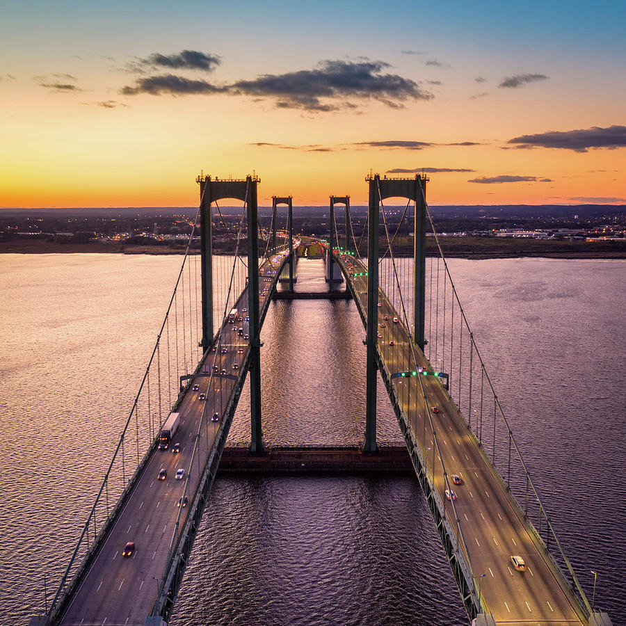 Aerial view of Delaware Memorial Bridge at dusk. by Mihai Andritoiu