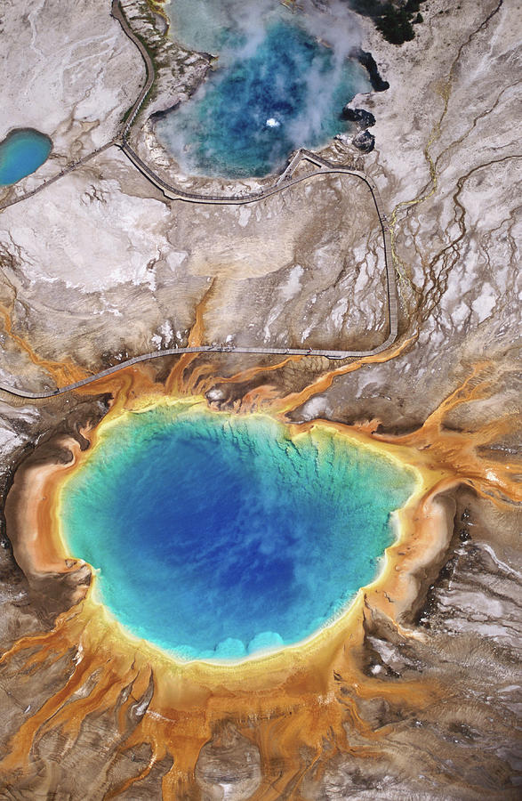 Aerial View Of Grand Prismatic Spring Photograph by Holger Leue