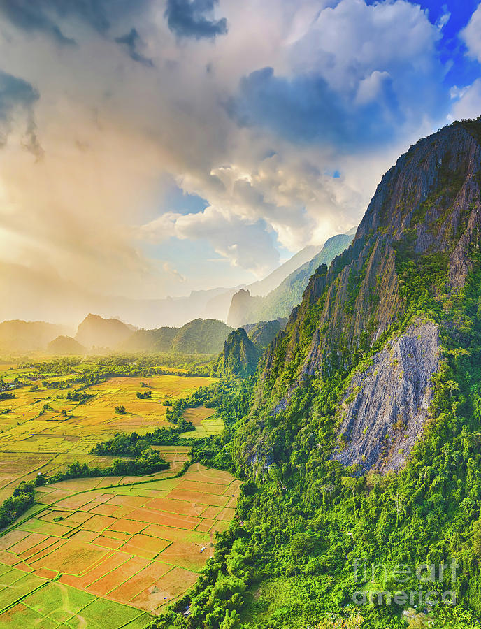 Aerial View Of The Fields And Mountain. Beautiful Landscape. Lao Photograph