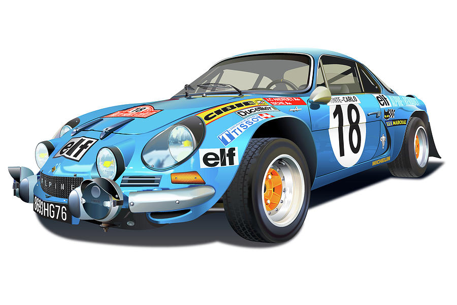 Alpine Renault A110 Illustration Drawing by Alain Jamar