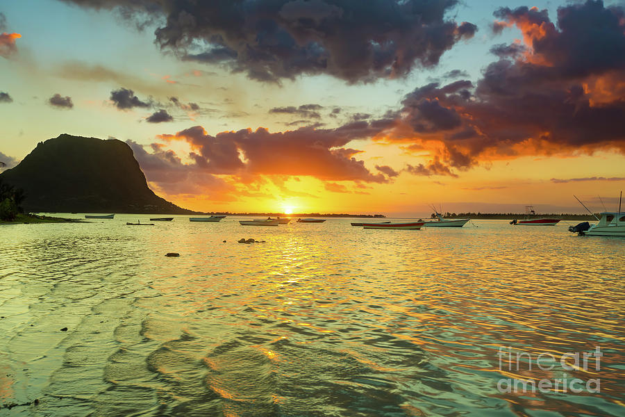 Mauritius Photograph - Amazing view of Le Morne Brabant at sunset.Mauritius. by MotHaiBaPhoto Prints