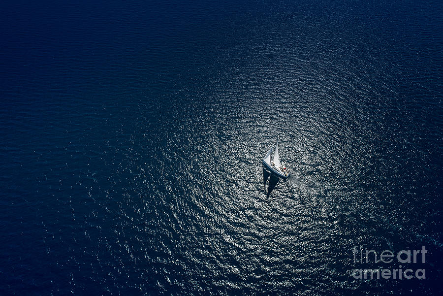 Sailboat Photograph - Amazing View To Yacht Sailing In Open by Im photo
