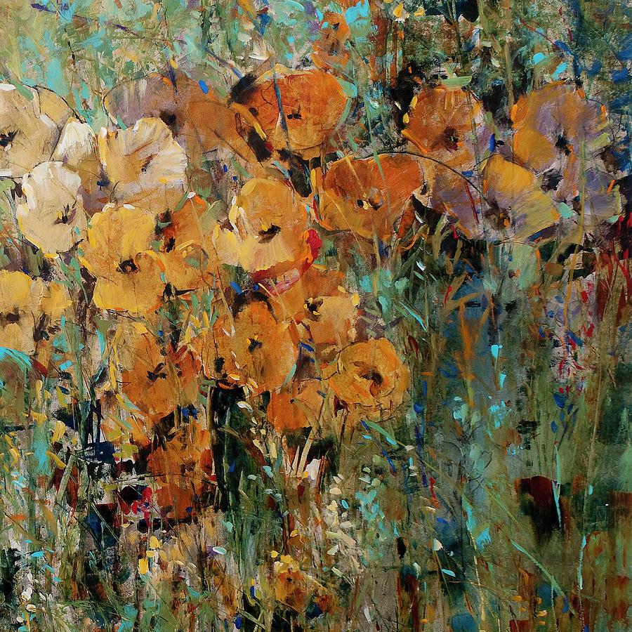 Modern Painting - Amber Poppy Field II by Tim Otoole