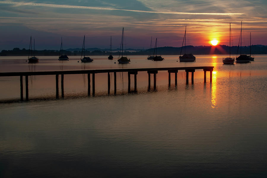 Ammersee Mixed Media - Ammersee Sunrise by Smart Aviation