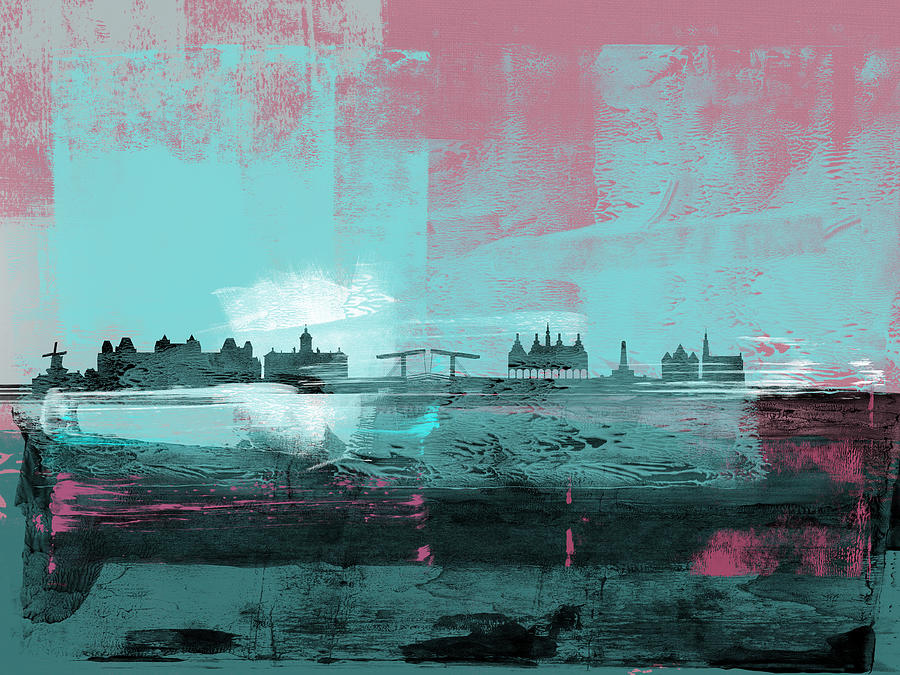 Amsterdam Mixed Media - Amsterdam Abstract Skyline I 1 by Naxart Studio