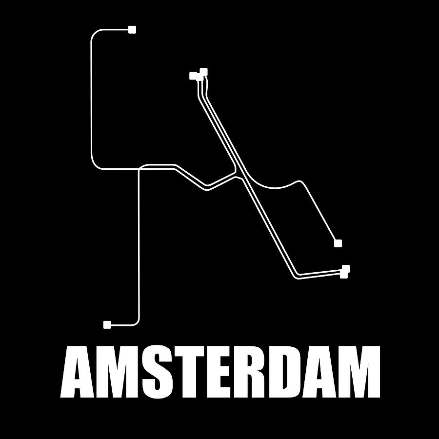 Amsterdam Digital Art - Amsterdam Black Subway Map by Naxart Studio