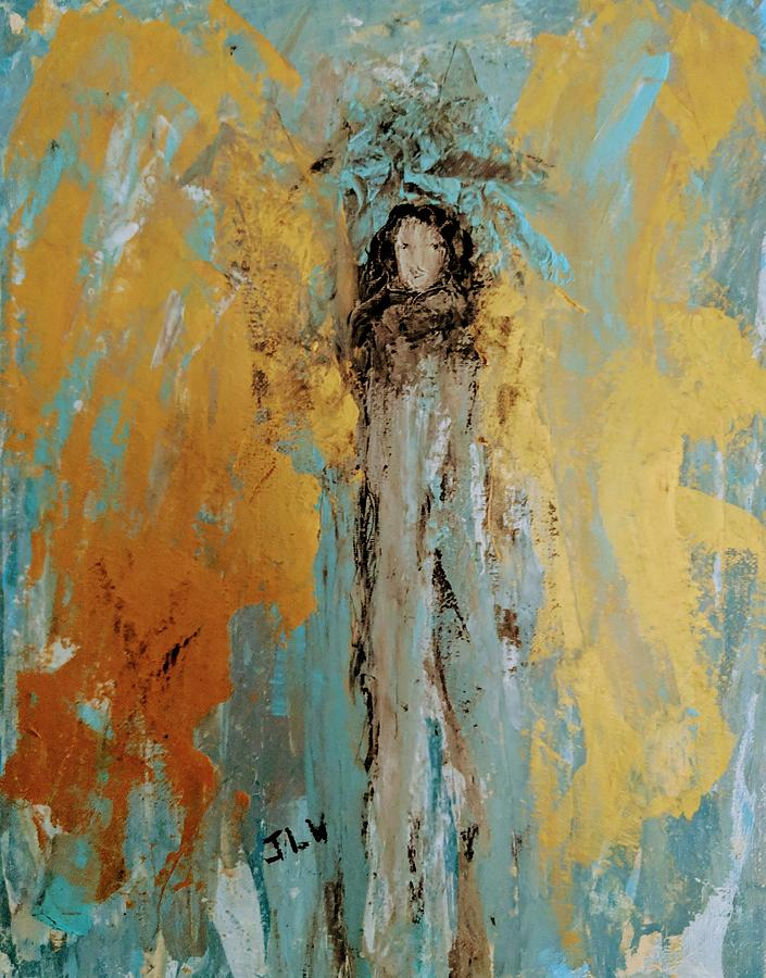 Angel With Large Golden Wings  by Jennifer Nease