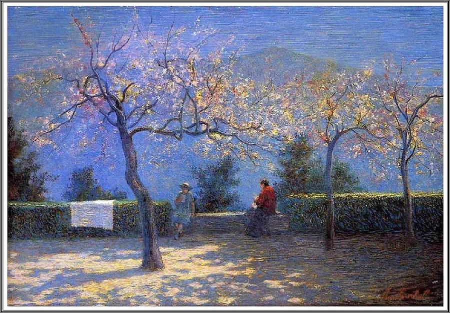 Nature Painting - Angelo Morbelli 1853-1919, Spring In Colma - 1906 by Angelo Morbelli