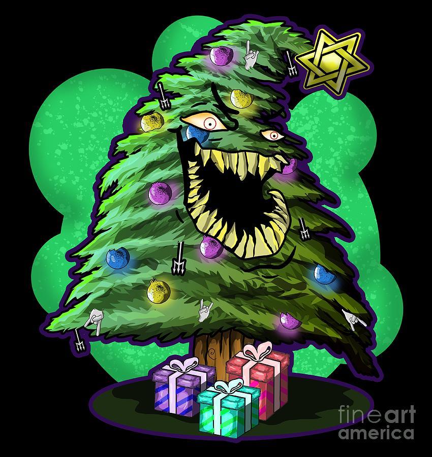 Evil Christmas.Angry Christmas Tree Evil Look Xmas Horror Gifts