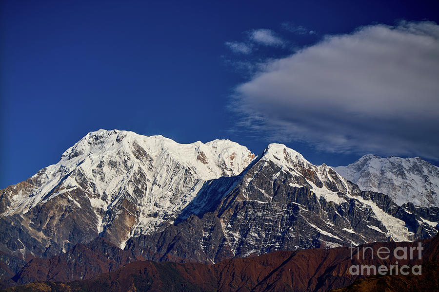 India Photograph - Annapurna South Peak And Pass In The Himalaya Mountains, Annapurna Region, Nepal by Raimond Klavins