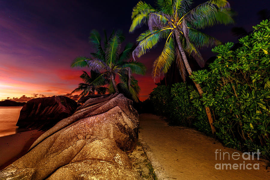 Anse Source dArgent at dusk by Benny Marty