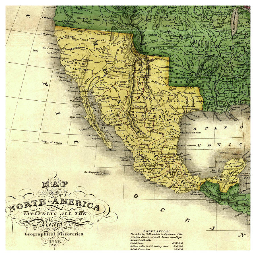 Antique Map Of North America.Antique Map Of North America Old Cartographic Map Antique Maps