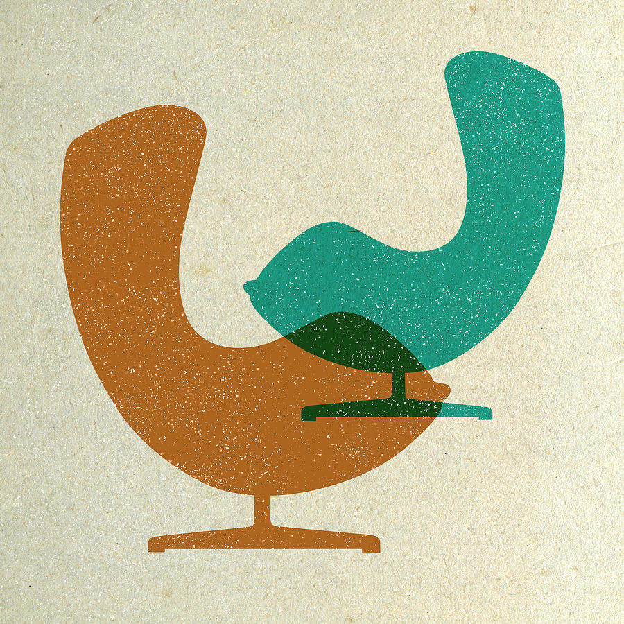 Mid-century Digital Art - Arne Jacobsen Egg Chairs  by Naxart Studio