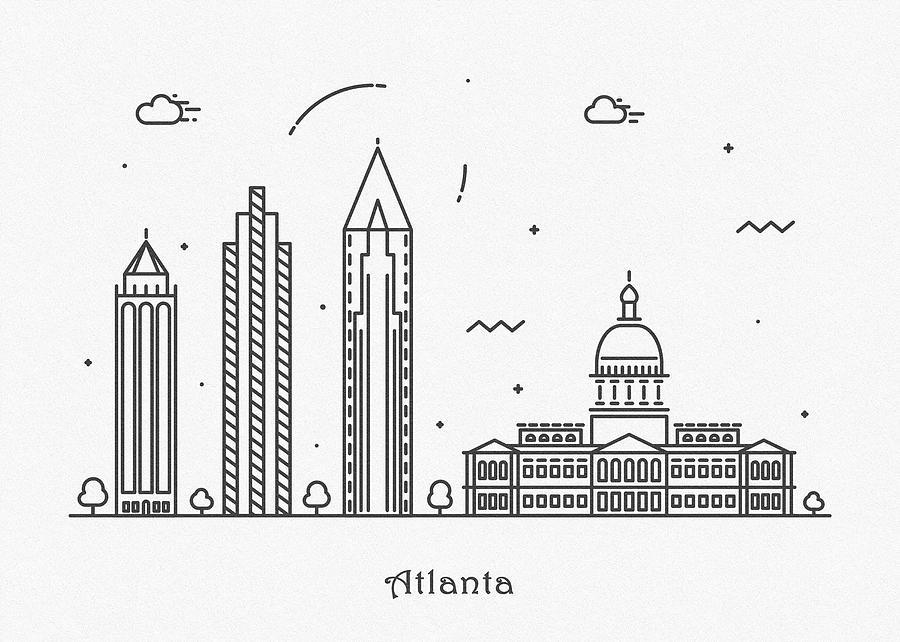 Atlanta Drawing - Astana Cityscape Travel Poster by Inspirowl Design