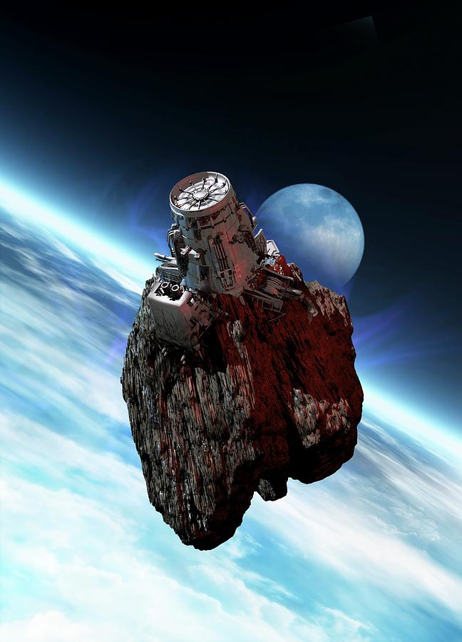 Asteroid Mining, Artwork Digital Art by Victor Habbick Visions