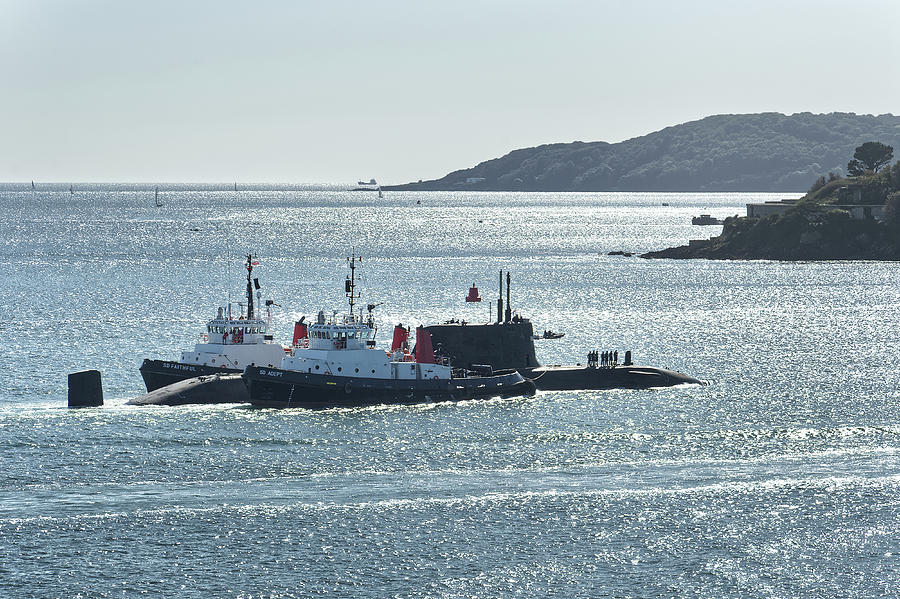 Astute class SSN under escort on Plymouth Sound by CHRIS DAY