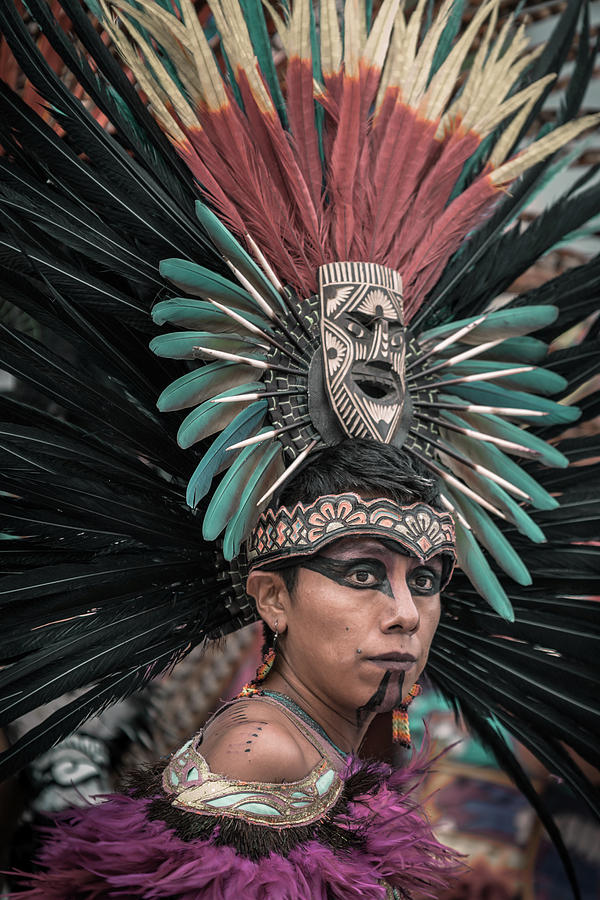 Aztec Dancer Photograph - Aztec Dancer During Procession in Chapala, Mexico by Dane Strom