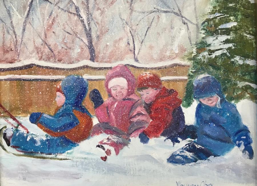Backyard Sledding  by Maureen Obey