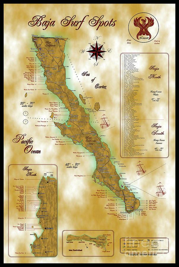 Baja Surf Map Digital Art By Lucan Hirales