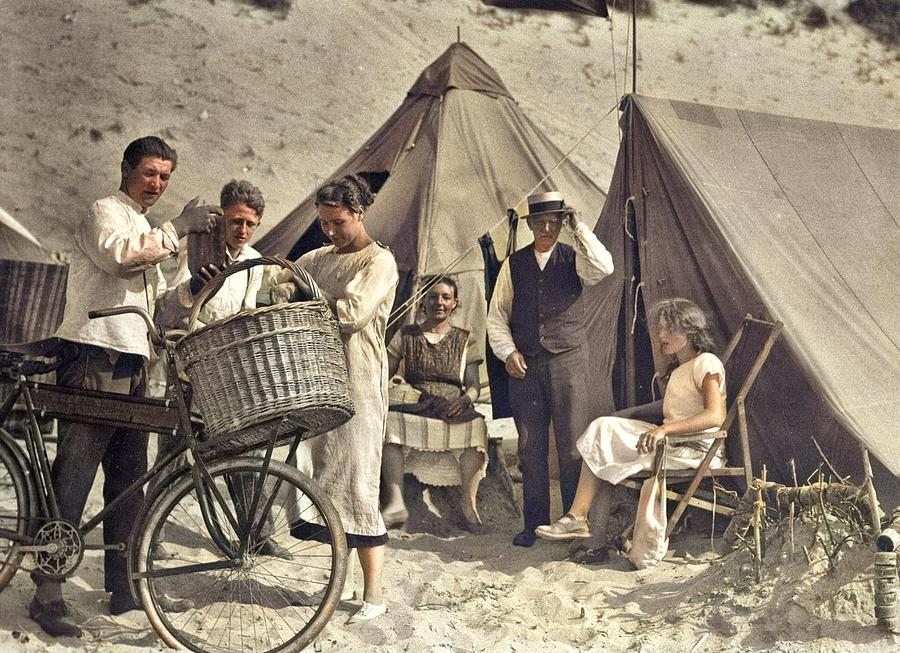 Bakers Boy Delivering Bread To Seaside Visitors Camping On The Beach. The Netherlands, 1923. Colori Painting