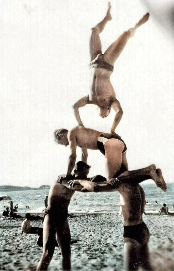 Balancing At Beach  Algiers, 1958 Colorized By Ahmet Asar Painting