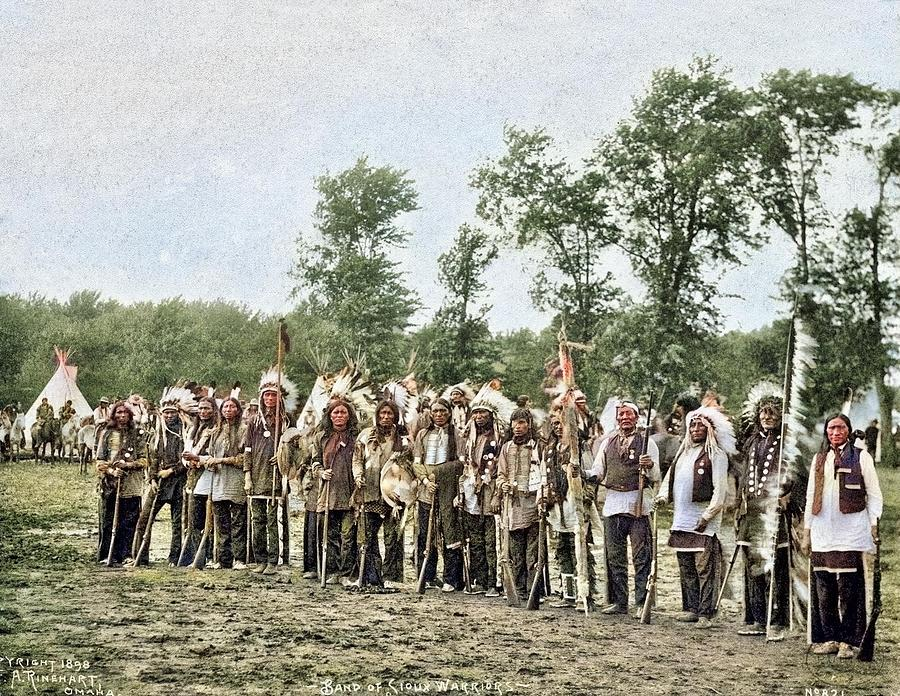 Band Of Sioux Warriors By Frank Rinehart Colorized By Ahmet Asar Painting