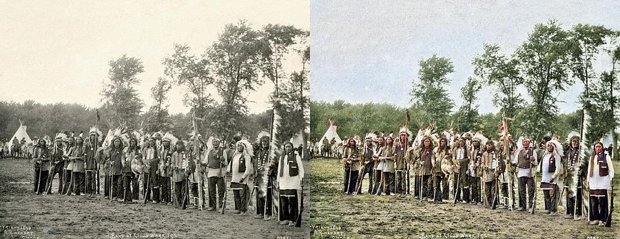 Band Of Sioux Warriors By Frank Rinehart Colorized-image-comparison Colorized By Ahmet Asar Painting