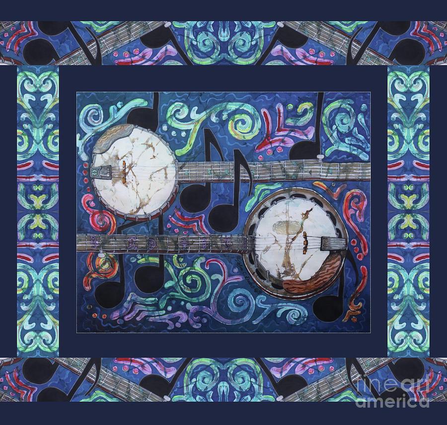 Banjos Painting - Banjos Bordered by Sue Duda
