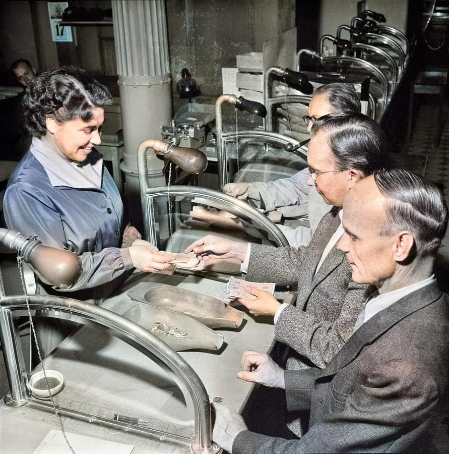 Banking, 1956, The First Silver Use Of The Independence Period  Colorized By Ahmet Asar Painting