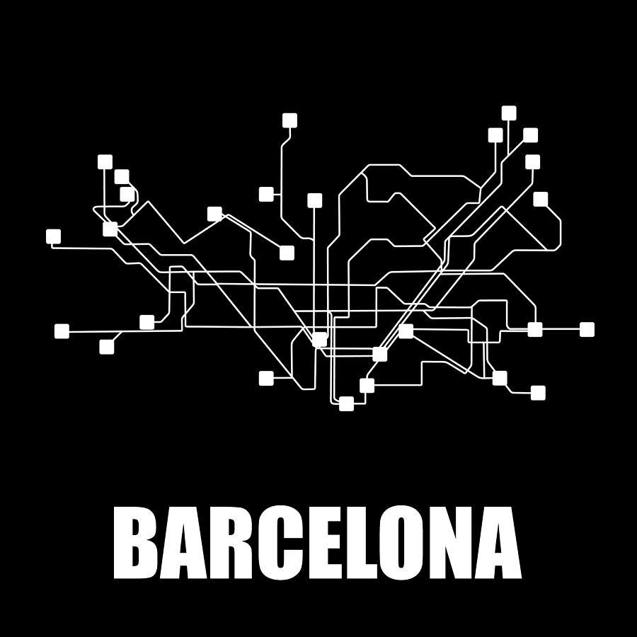 Black White Subway Map.Barcelona Black Subway Map By Naxart Studio
