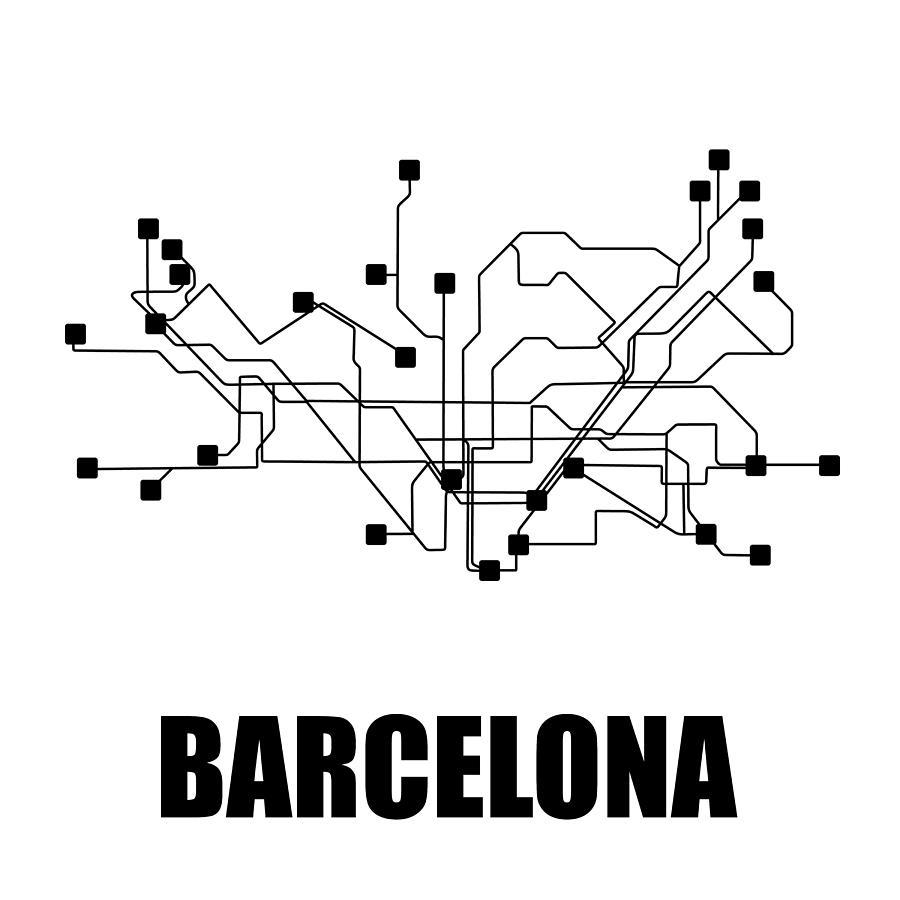 Black And White Subway Map.Barcelona White Subway Map By Naxart Studio