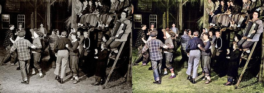 Barn Dance, Vermont Colorized-image-comparison Colorized By Ahmet Asar Painting