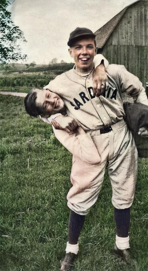 Baseball players, 1938 colorized by Ahmet Asar by Ahmet Asar