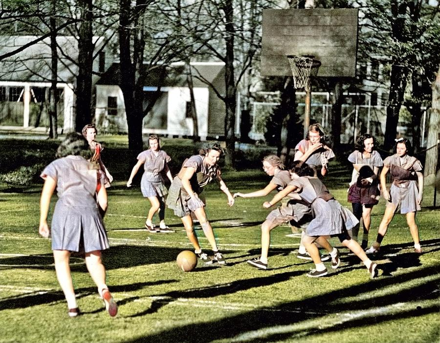Basketball, 1938 From Abbot Academy Colorized By Ahmet Asar Painting