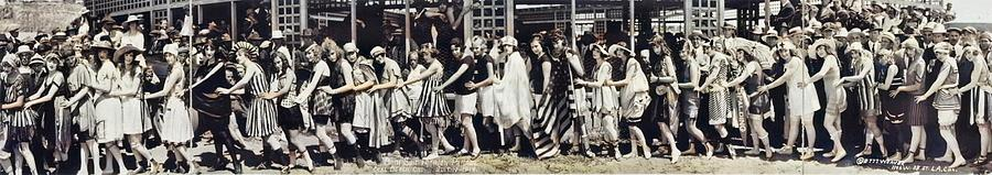 Bath Suit Fashion Parade, Seal Beach, California, July 14, 1918 colorized by Ahmet Asar colorized by by Ahmet Asar