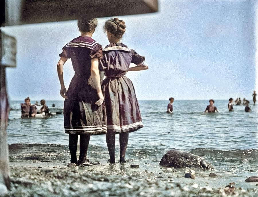 Bathing beach, Oak Bluffs by Edward Lee Luce colorized by Ahmet Asar by Ahmet Asar