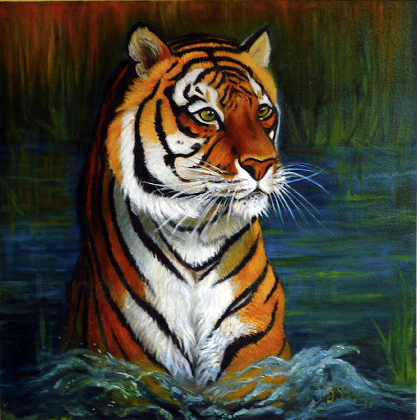 Tiger Painting - Bathing Tiger. by Janet Silkoff